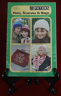 Patons Beehive Hat, Scarves & Bags #404, Vintage Knitting & Crochet Pattern Book
