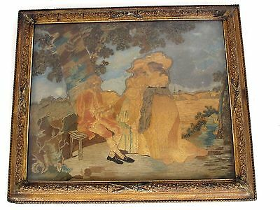 Antique 18th c. Colifichet Embroidery of a Man and 2 Ladies Original Frame