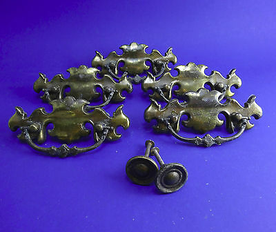 Vintage 5 bat wing Chippendales brass drawer pulls 1953 & 2 knobs