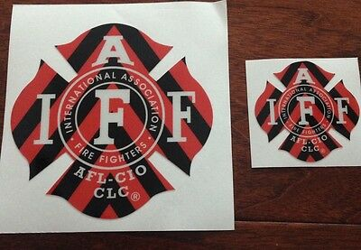 ONE RED/BLACK IAFF Firefighter Union Chevron Reflective 3M Sticker Decal 4""