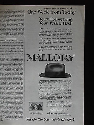 1919 Mallory Hats The Hat That Goes With Good Clothes Advertisement