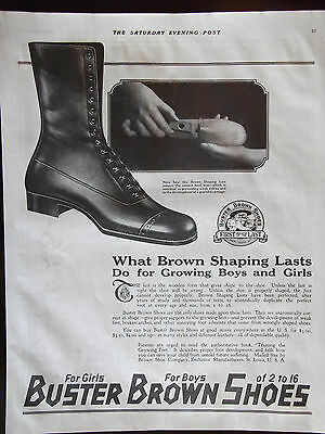 1918 Buster Brown Boys and Girls Shoe Advertisement