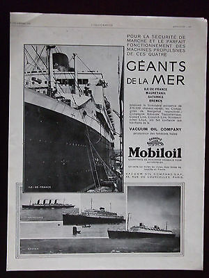 1929 Mobiloil Four Large Ships French Magazine Advertisement