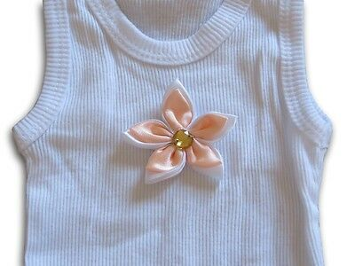 HANDMADE Girls Singlet with Peach Satin Flower ~ NEW ~ Size 000