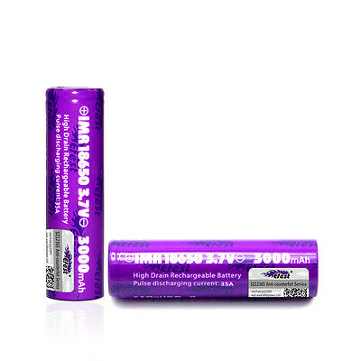2X Efest Purple IMR 18650 3000mAh 35A Flat Top LiMn Battery
