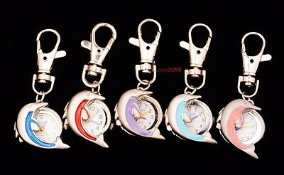 Wholesale 10pcs Cute Dolphin Style boy girl lady Key Ring pocket Watches USK8
