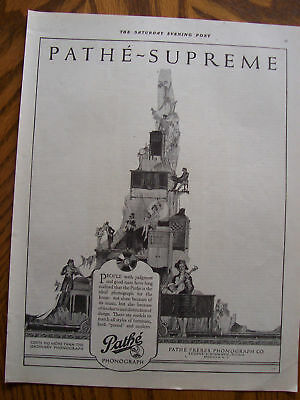 1920 Original Pathe Supreme Phonograph Advertisement Ben Rimo Illustration