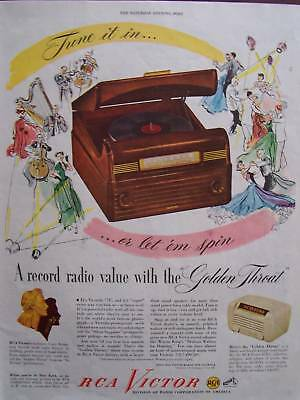 1948 RCA Victor Record Radio Golden Throat Advertisement
