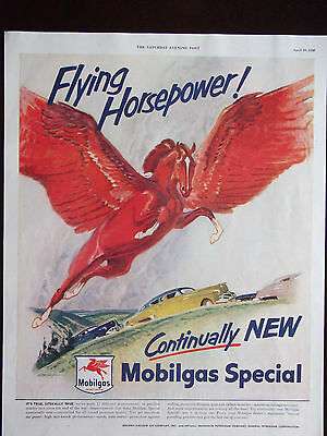 1950 Mobilgas Big Flying Red Horse Advertisement