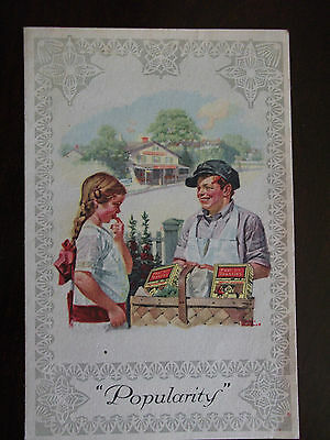 """1920 RARE Post Toasties Cereal Box Insert """"Popularity"""" by Norman Rockwell NICE!"""