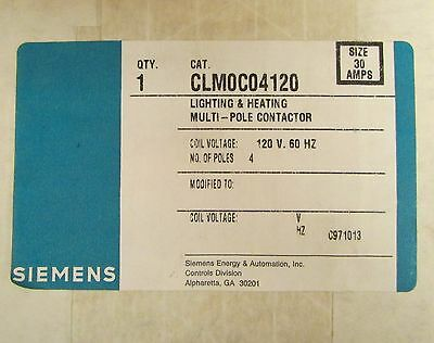 SIEMENS CLM0C04120 4 Pole 120 V 30 Amp Lighting & Heating Contactor