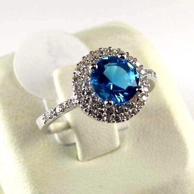 R#8567 simulated Sea Blue & White Topaz Gemstone ladies silver ring size 7