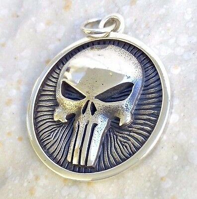 Solid Sterling Silver 925 Heavy 3D The Punisher Skull Pendant