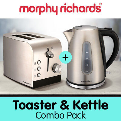 Morphy Richards 1.5L Kettle 2 Slice Toaster Combo Stainless Steel Electric Set
