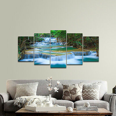 Canvas Wall Art Print Painting Home Decor Landscape Photo Woods Waterfall Framed
