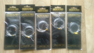 5 X Nerus 3 Hook Flapper size 1 (2up 1 down) beachcaster/shore sea fishing rigs