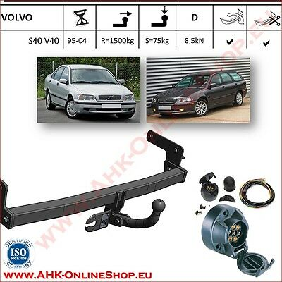 TOWBAR with Electrics 12N 7pin Volvo S40 Saloon / V40 Estate 1995 to 2004