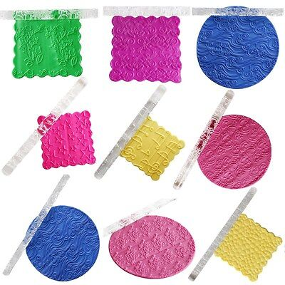 Non-stick Textured Embossing Acrylic Rolling Pin Fondant Cake Roller 10 Styles