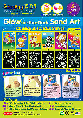 Glow In the Dark Sand Art kit - Cheeky Animal theme (6 x Large card), au seller