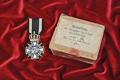 WWI HOHENZOLLEN KNIGHTS CROSS BY GODET w/VERY SCARCE OUTER CARDBOARD CASE SLEEVE