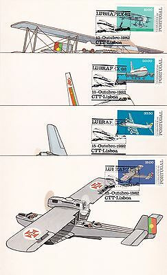 Portugal 1982 Aircraft Lubrapex 82 Set of 4 Maximum Cards