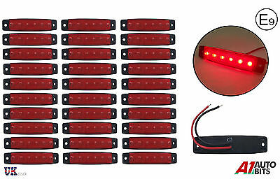 30x 24 Volt LED Red side rear marker lights lamps for trailer truck lorry E-mark