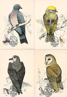 Portugal 1987 Birds Set of 4 Maximum Cards