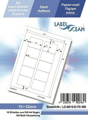 100 Sheets 10 Per Sheet Self Adhesive A4 Address Label 70 x 52 mm LO0010D