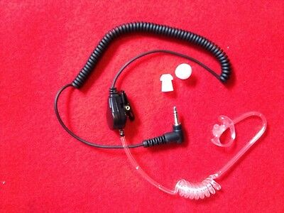 """Clear Tube 3.5mm Right Angle""""Listen Only"""" Security Headset w K-FLEX Ear Mold"""