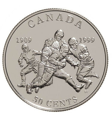 1909-1999 50-Cent First Grey Cup Football Silver Coin
