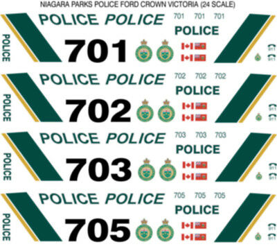1/24 Scale Niagara Parks Police Decals -  Does 4 Fcv Cars New Release!!!!