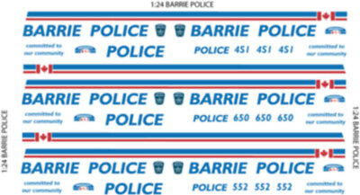 1/24 or 1/26 SCALE BARRIE ONTARIO POLICE DECALS -  DOES 3 CHEVY TAHOE'S