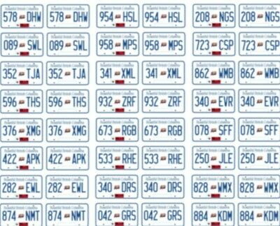 British Columbia Canada License Plate Decals For 1:43 Scale Cars