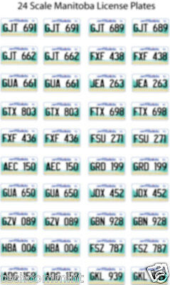 Manitoba License Plate Decals For 1:24 Scale Cars