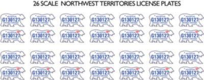 Northwest Territories Nt License Plate Decals For 1:18 Scale Cars