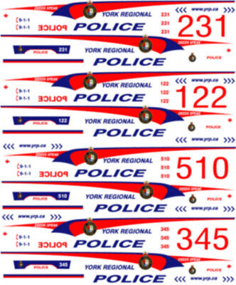1/26 Scale York Regional Police Decals -  For Welly Chev Tahoe - New Release!