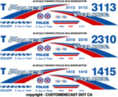 1/24 Scale Toronto Police Decals -  For 3 Cars - Ford Crown Victoria