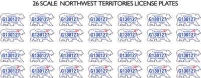 Northwest Territories Nt License Plate Decals For 1:24 Scale Cars
