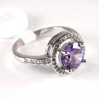 R#9007 simulated Purple Amethyst & Topaz Gemstone ladies silver ring size 8
