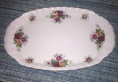 """English Rose Platter White w/Vintage Roses Antique~13""""X 7.75"""" By Crystal Clear"""