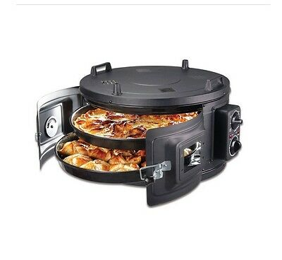 Itimat Black Electrical Roaster/grill Round Oven Double Enamel Trays