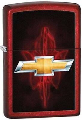 Classic Chevy Bowtie Emblem Logo Candy Apple Red Zippo Lighter
