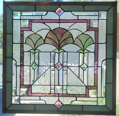 Stained Glass window hanging Art Deco 21 1/4 X 21 1/4