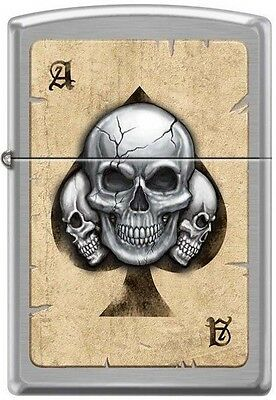 Ace of Spade with Three Death Skull Chrome Zippo Lighter