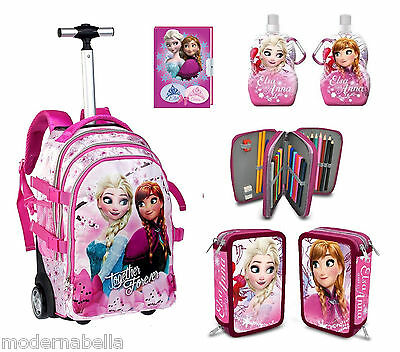 zaino Trolley Frozen Together Disney + Astuccio Triplo,Diario,borraccia . scuola