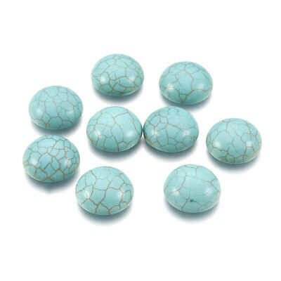 20pcs Flatback Synthetic Turquoise Stone Cabochons Cameo Covers Dome Cyan 16x5mm