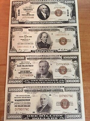 Copy Reproduction 1929 National Uncut US Currency Sheet Paper Money Fantasy