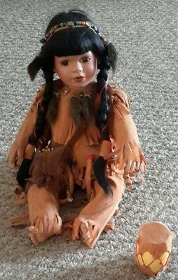 """Collectible Native American Doll w/ Drum-12"""" Sitting- Porcelain"""