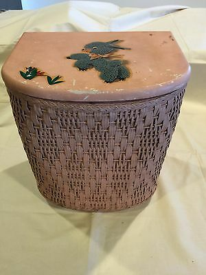 "Wicker Doll Clothes Hamper-Vintage-Pink with Lamb on Lid-12"" Tall"