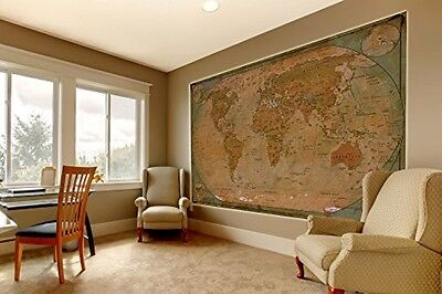 Giant World Map Wall Paper Poster Antique Large Hanging Vintage Old Age Globe